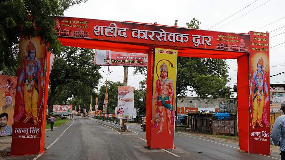 A street is decorated as part of preparations for a groundbreaking ceremony of a temple dedicated to the Hindu god Ram in Ayodhya, India, Wednesday, Aug. 5, 2020. The coronavirus is restricting a larg