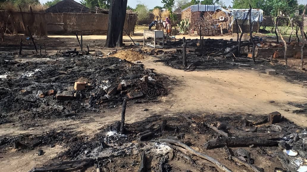This photo shows aftermath of an attack in the village of Masteri in west Darfur, Sudan Saturday, July 25, 2020. A recent surge of violence in Darfur, the war-scarred region of western Sudan, has depr