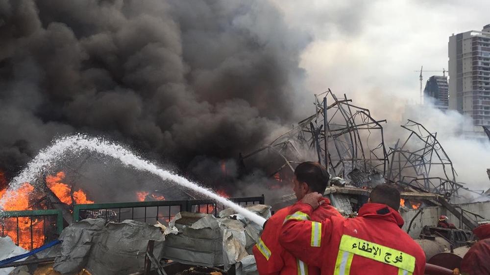 Beirut port fire [Courtesy of Beirut Firefighters via Al Jazeera]