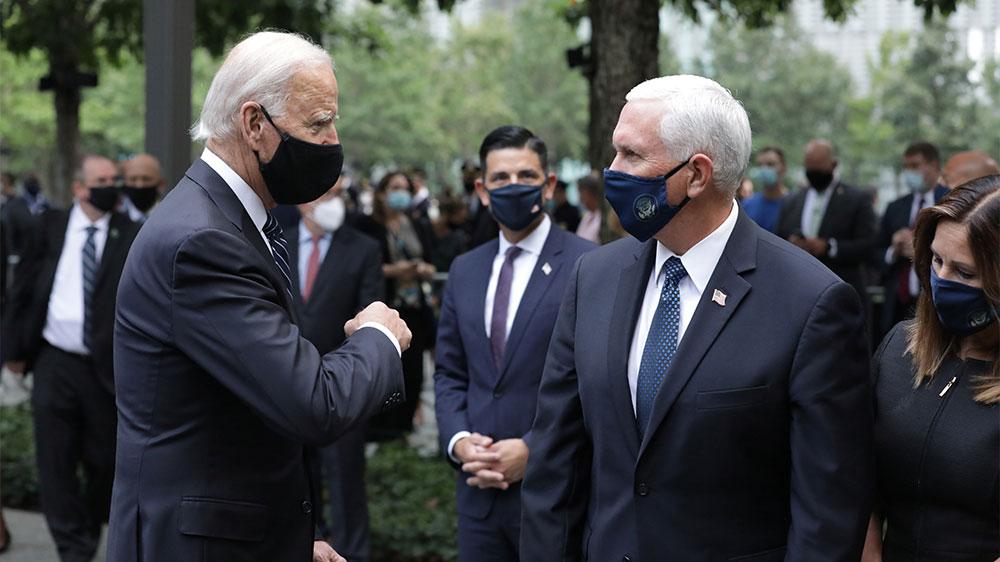 Biden Pence elbow bump Sept 11