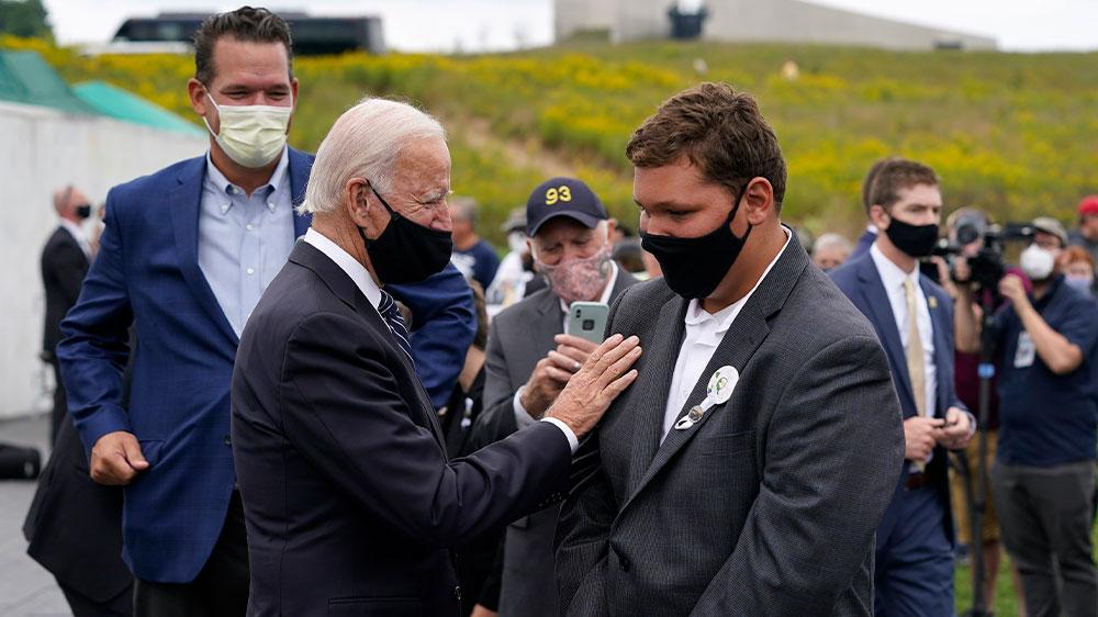 Biden greets family at Shanksville, PA
