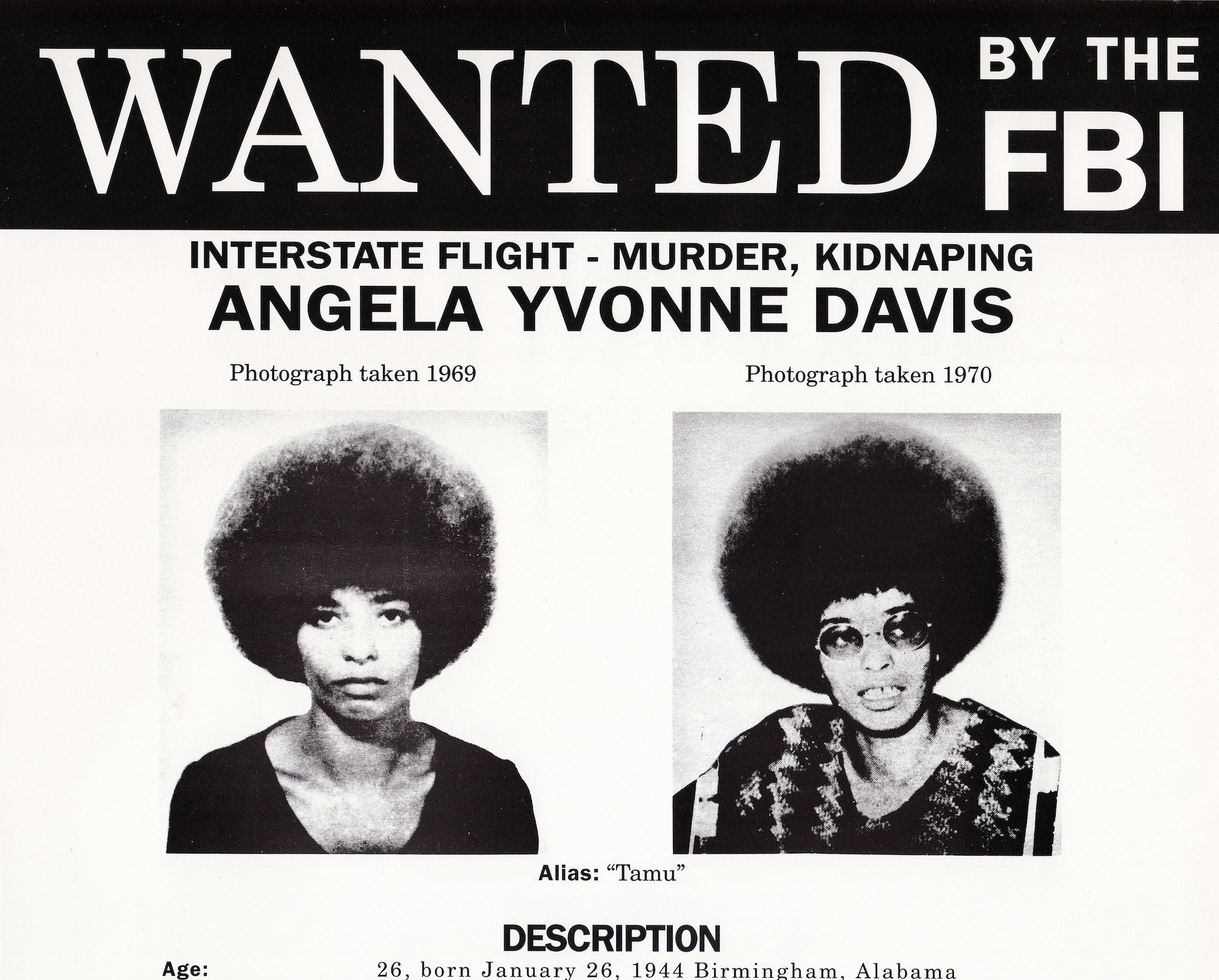 Angela Davis mugshot - Getty