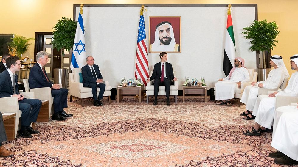 Israeli National Security Advisor Meir Ben-Shabbat, U.S. President's senior adviser Jared Kushner, U.S. National Security Advisor Robert O'Brien and UAE's National Security Adviser Sheikh Tahnoun bin