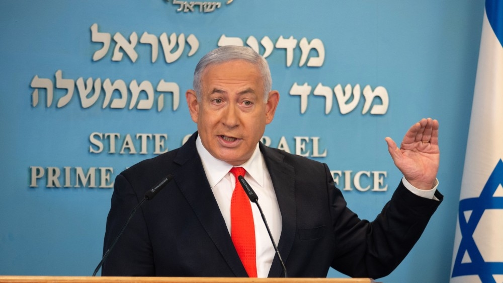 Israeli Prime Minister Benjamin Netanyahu gives a briefing on coronavirus developments in Israel at his office in Jerusalem, on September 13, 2020. Israel's government announced