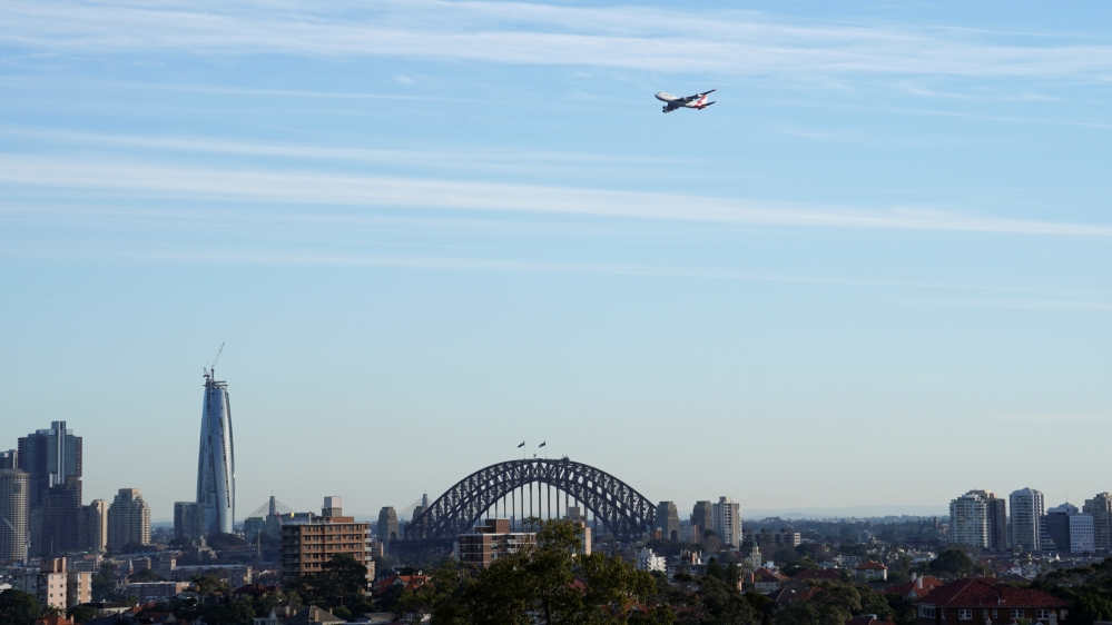 FILE PHOTO: A view shows a Qantas Boeing 747 jumbo jet that departed from Sydney Airport, in Sydney
