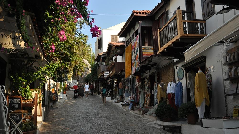 Kas bougainvillea and greek houses [Samuel Kent/Al Jazeera]