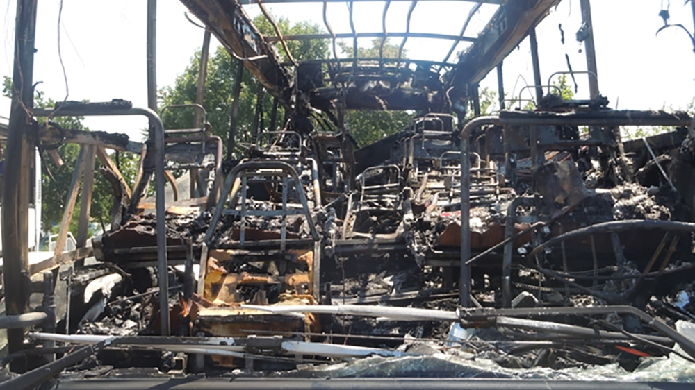 A handout picture taken and released on July 19, 2012 by the Bulgarian Interior Ministry shows the wreckage of a bus in Burgas after an explosion ripped through the bus on July 18, injuring more than