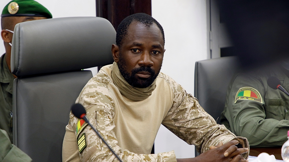Colonel Assimi Goita, the junta leader of the National Committee for the Salvation of the People (CNSP) which overthrew Mali's President Ibrahim Boubacar Keita attends the meeting with Economic Commun