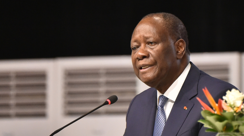 Ivorian President Alassane Ouattara attends a meeting of the Houphouëtists for Democracy and Peace (RHDP) concerning the party's candidate to the presidential elections to be held in October, at the I