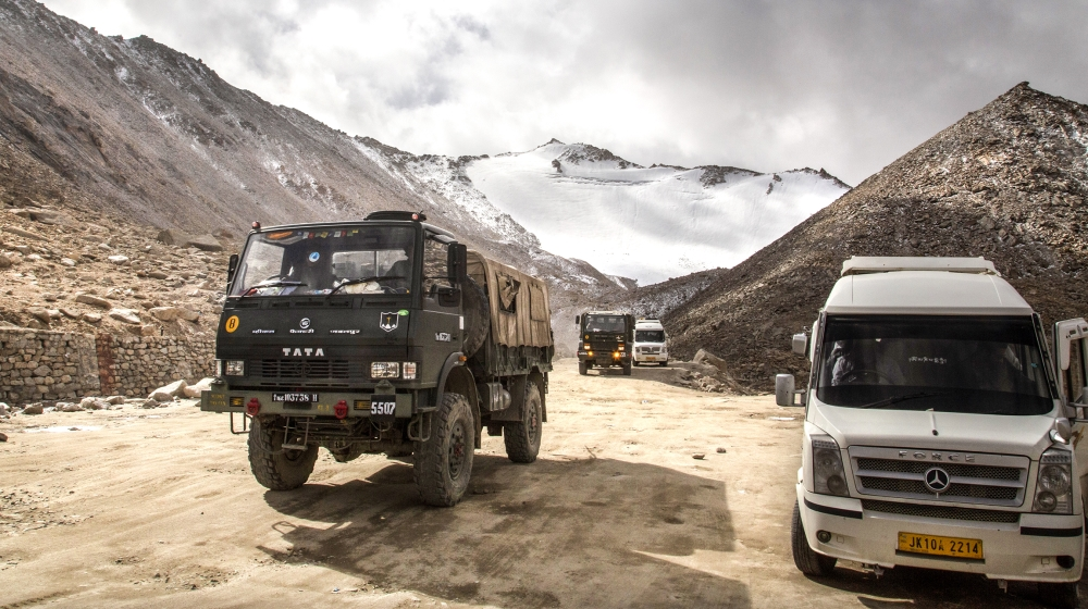 Indian Army truck crosses Chang la pass near Pangong Lake in Ladakh region, India. India and China sought Wednesday, June 17, 2020, to de-escalate tensions following a fatal clash along a disputed bor