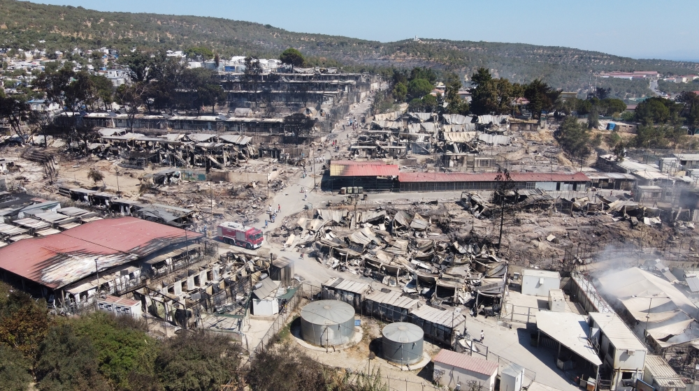 An aerial view of destroyed shelters following a fire at the Moria camp for refugees and migrants on the Island of Lesbos, Greece September 9, 2020. Picture taken with a drone. REUTERS/Alkis Konstanti