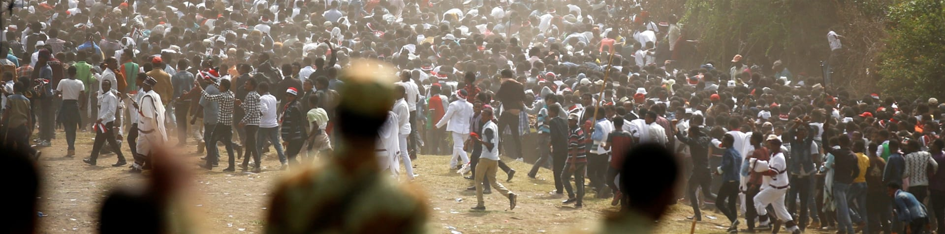 "Oromo activists called for ""five days of rage"" after the stampede [Tiksa Negeri/Reuters]"