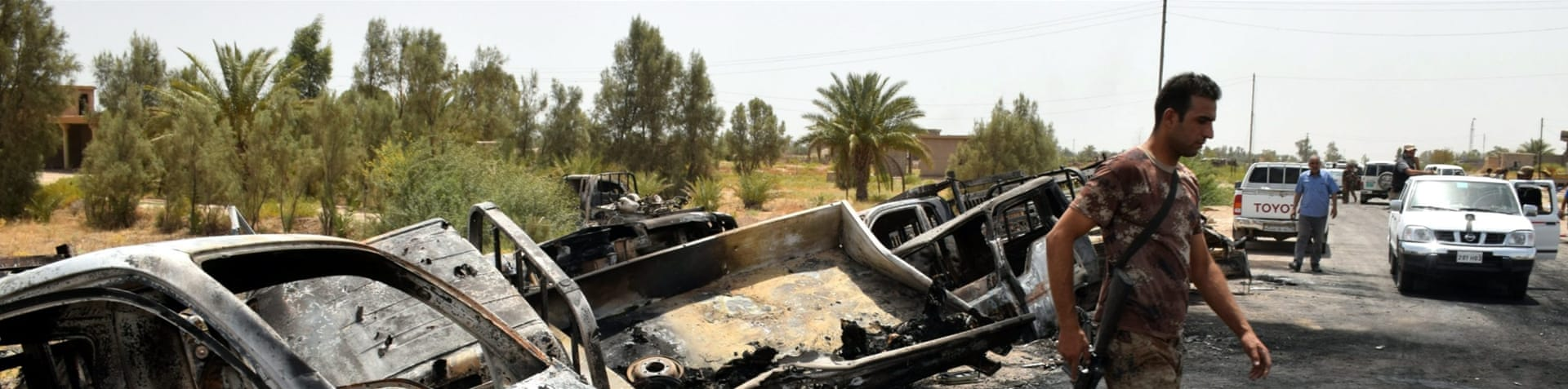The US said it destroyed 55 vehicles with more destroyed by the Iraqi army [Nawras Aamer/EPA]