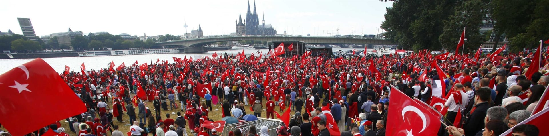 Tens of thousands of Erdogan supporters rallied in Cologne to show their opposition to the failed coup attempt on July 15 [Reuters]