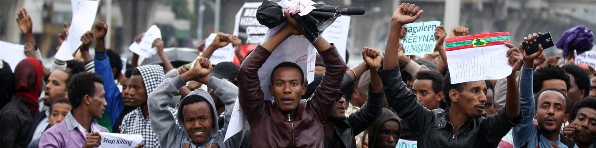 Oromo and Amhara demonstrators are calling for more rights. [EPA]