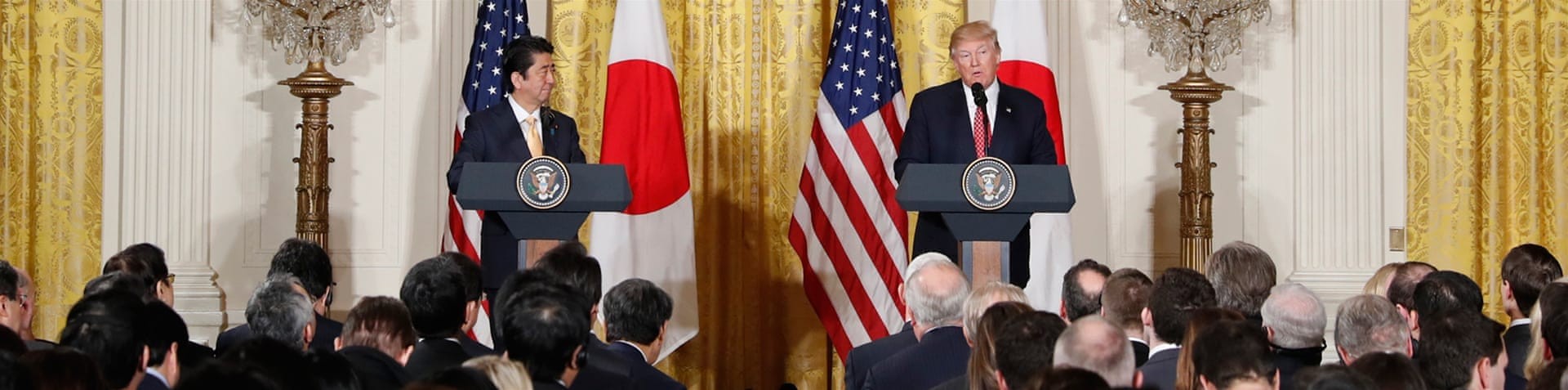 Abe is the second leader to visit Trump at the White House [Evan Vucci/AP]