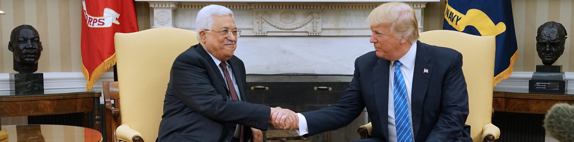 Trump hosts Abbas for the first time since coming to office [Evan Vucci/AP]