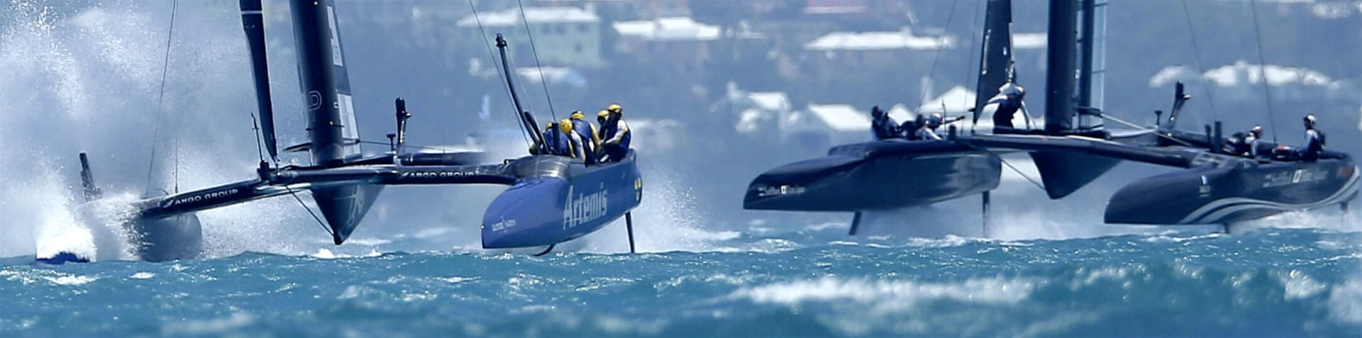 Artemis Racing skippered by Nathan Outteridge races during the 35th America's Cup, Louis Vuitton Challenger Playoffs finals in Hamilton, Bermuda on June 11, 2017. 