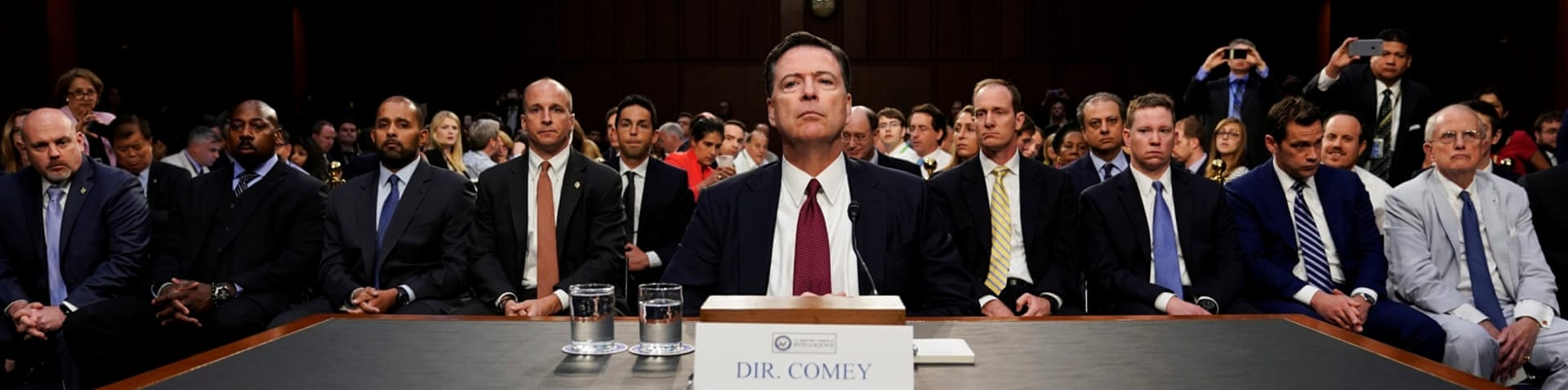James Comey testifies on Russia's alleged interference in the 2016 US presidential election [Jonathan Ernst/Reuters]