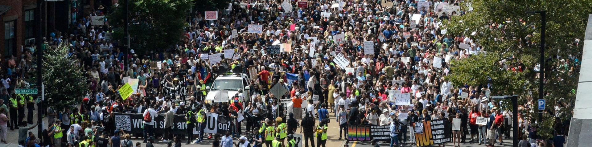 More than 10,000 counterprotesters took to the streets of Boston to decry racism [Scott Eisen/Getty Images/AFP]