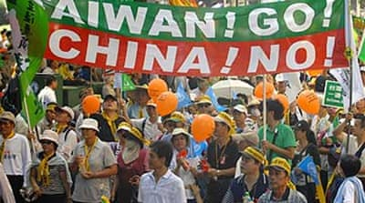Protests mar China-Taiwan meeting