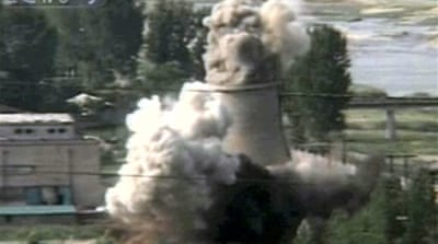 N Korea reactor tower destroyed