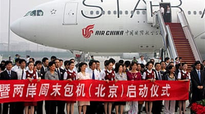First China flight lands in Taiwan