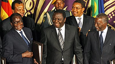 Zimbabwe leaders sign unity deal