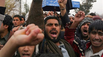 Afghans protest against US air raid