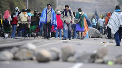 Ecuador Indians clash with police