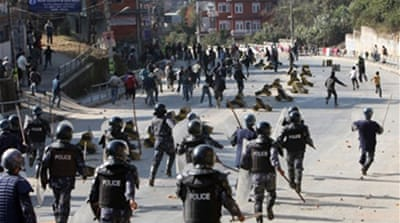 Nepal police battle Maoist strike