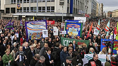 Thousands protest N Ireland attacks