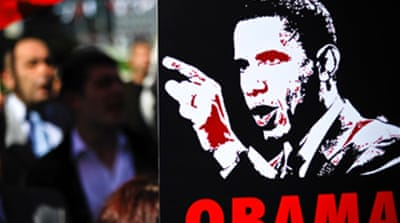 Protests greet Obama on Turkey trip