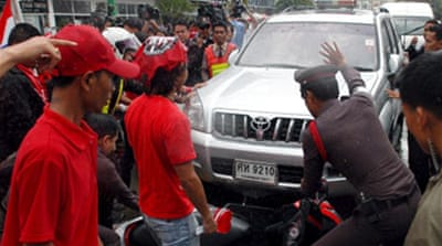 Protesters attack Thai PM's car