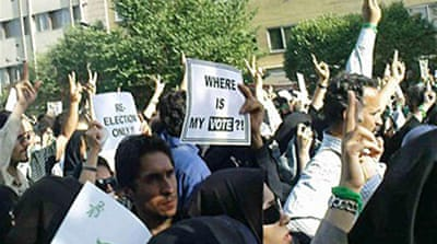 Mousavi supporters march in Iran