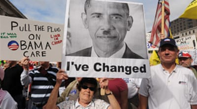 Thousands rally against Obama plans
