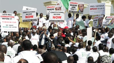 Nigerians protest leader's absence