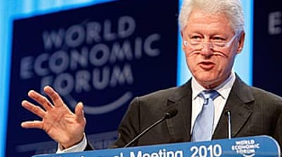 Clinton in Haiti appeal to Davos