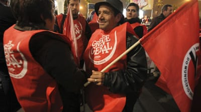 Portuguese unions stage strike