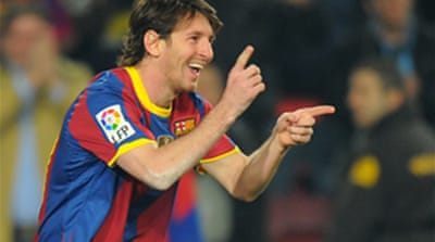 Sharpshooter Messi fires for Barca