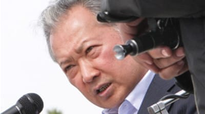 Ousted leader leaves Kyrgyzstan