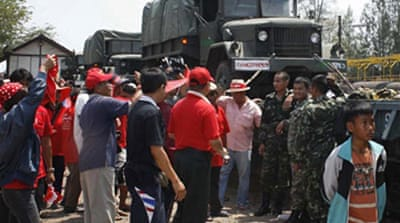 Red shirts seize Thai troop train