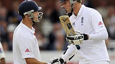 Trott and Broad tons save England