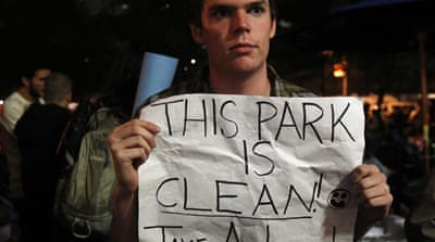 'Occupy' park clean-up postponed