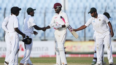 West Indies and Bangladesh draw first Test