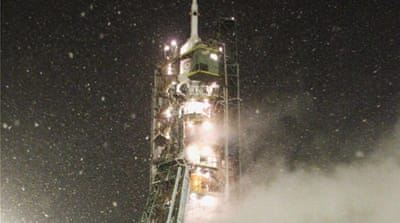 Russian rocket lifts off for space station