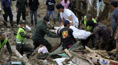 Many dead and missing in Colombia landslides