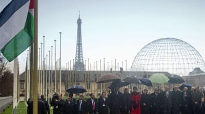 Palestine flag raised at UNESCO headquarters