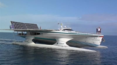 Solar-powered boat sails around the world