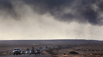 Libyan rebels in retreat